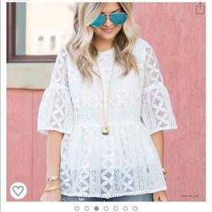 Chicwish white lace blouse